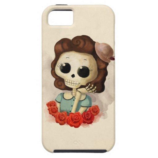 Pequeña Srta. Death y rosas iPhone 5 Fundas