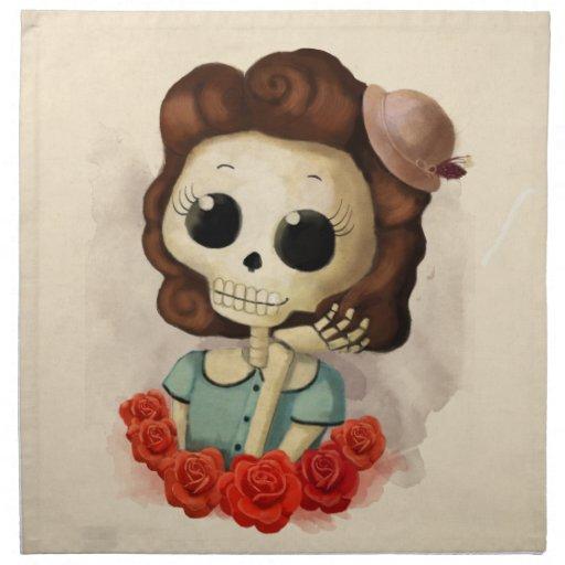 Pequeña Srta. Death y rosas Servilleta