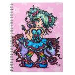 Pequeña Srta. Deelish Fairy Unicorn princesa fanta Note Book