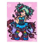Pequeña Srta. Deelish Fairy Unicorn princesa fanta Postal