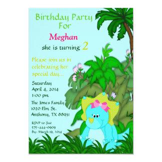 """Pequeña Srta. Dino Birthday Invitation Invitación 5"""" X 7"""""""