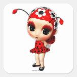 Pequeña Srta. Ladybug Calcomania Cuadrada Personalizada