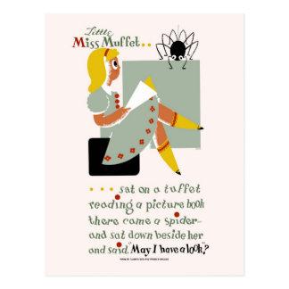 Pequeña Srta. Muffet. 1940 que lee el poster de la Tarjetas Postales