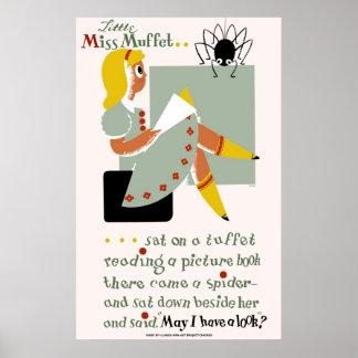 Pequeña Srta. Muffet. poster 1940 que promueve la