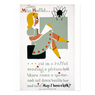 Pequeña Srta Muffet Sat en un poster 1940 de Tuff Postales