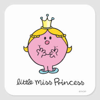 Pequeña Srta. que ríe nerviosamente princesa Pegatina Cuadrada