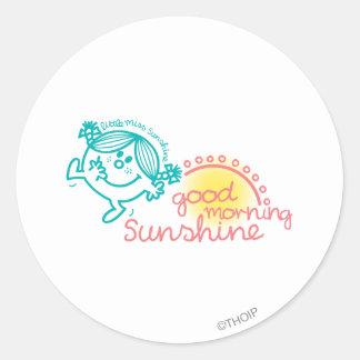 Pequeña Srta. Sunshine de la buena mañana Pegatina Redonda
