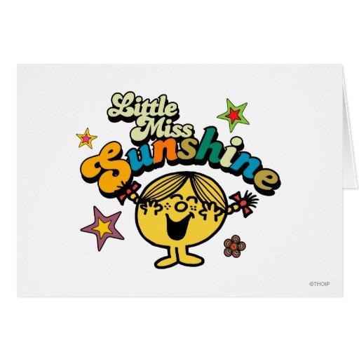 Pequeña Srta. Sunshine Stars y flores Tarjetas