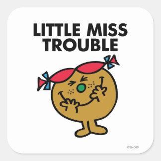 Pequeña Srta. Trouble el | que ríe Pegatina Cuadrada