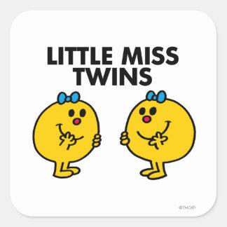 Pequeña Srta. Twins el | dos mucha diversión Pegatina Cuadrada