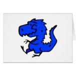 Pequeña tarjeta azul del dinosaurio (invitación, s