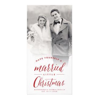 Pequeña tarjeta casada de la foto del día de tarjeta personal con foto