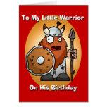 Pequeña tarjeta de cumpleaños del guerrero