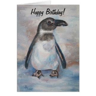 Pequeña tarjeta de cumpleaños fría del pingüino