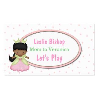 Pequeña tarjeta de fecha de princesa Mommy Play Tarjetas De Visita