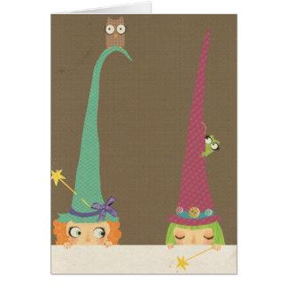 Pequeña tarjeta de felicitación de las brujas