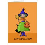 Pequeña tarjeta de Halloween de la calabaza de la
