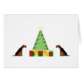 Pequeña tarjeta de Navidad de Airedale de los ayud