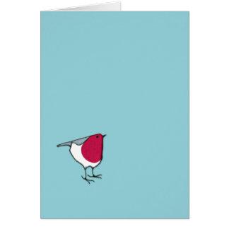 Pequeña tarjeta de nota azul del petirrojo