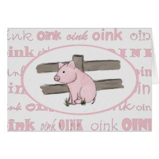 Pequeña tarjeta de nota rosada del cochinillo