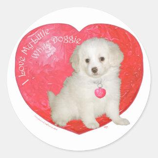 Pequeña tarjeta del día de San Valentín blanca del Pegatina Redonda