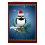 Pequeña tarjeta del gorrión de Santa