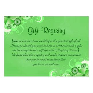 Pequeña tarjeta floral verde oscuro del registro tarjetas de visita grandes