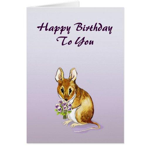 Pequeña tarjeta linda del feliz cumpleaños del rat