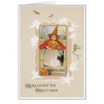 Pequeña tarjeta linda del vintage de la bruja