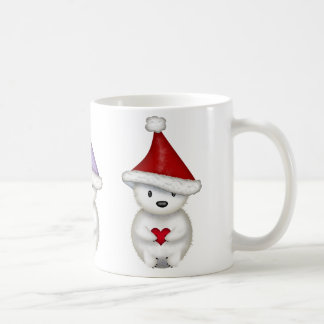 Pequeña taza linda del navidad de los osos polares