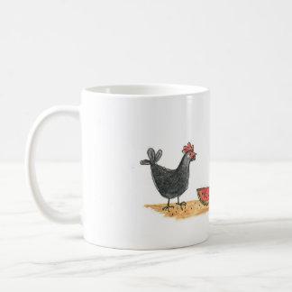 Pequeña taza negra de la gallina y de la sandía