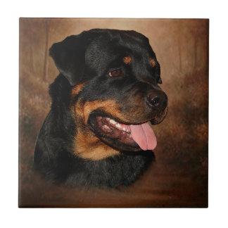 Pequeña teja de cerámica de la foto de Rottweiler