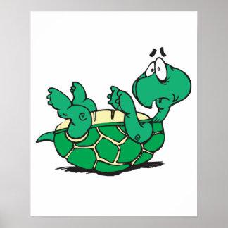 pequeña tortuga asustada póster