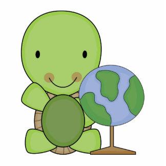 pequeña tortuga linda de la geografía fotoescultura vertical