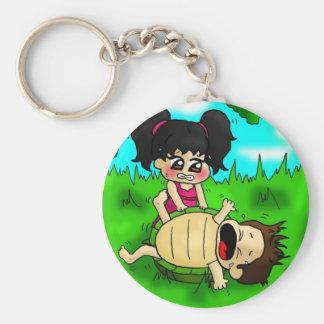 Pequeña tortuga llavero redondo tipo pin