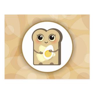 Pequeña tostada linda - mantequilla y huevo postal