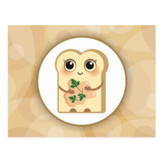 Pequeña tostada linda - Paté de color salmón y Postal