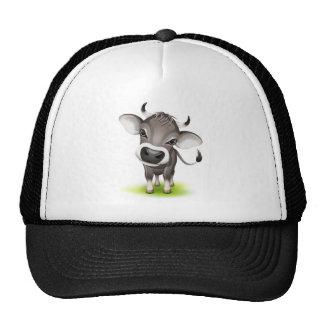 Pequeña vaca suiza gorros bordados