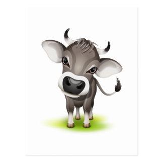 Pequeña vaca suiza postal