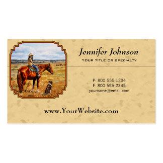 Pequeña vaquera en amarillo del caballo del ganado tarjetas de visita