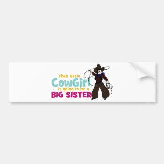 Pequeña vaquera, hermana grande pegatina de parachoque