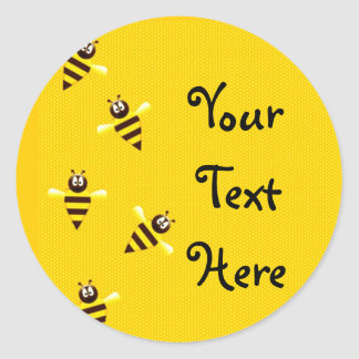 Pequeñas abejas etiquetas redondas