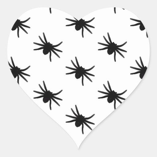Pequeñas arañas negras pegatina en forma de corazón