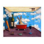 Pequeñas bebidas espirituosas del conejo tarjeta postal
