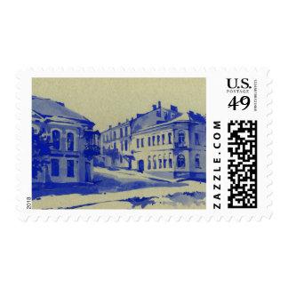Pequeñas calles en la ciudad vieja timbres postales