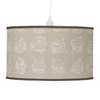 Pequeñas casas y cabañas en de color topo lámpara de techo