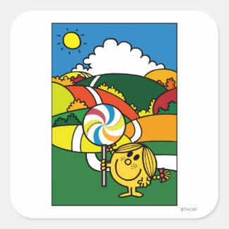 Pequeñas colinas y Lollypop de Srta. Sunshine el   Pegatina Cuadrada