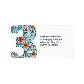 Pequeñas etiquetas adorables del número tres de lo etiquetas de dirección