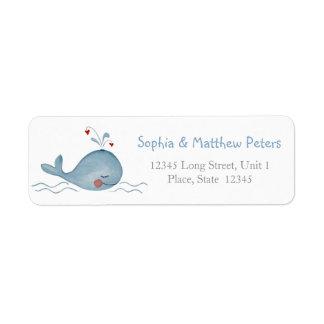 Pequeñas etiquetas lindas del remite de la ballena etiqueta de remite