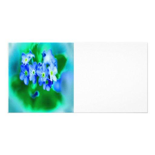 Pequeñas flores azules tarjetas fotográficas personalizadas